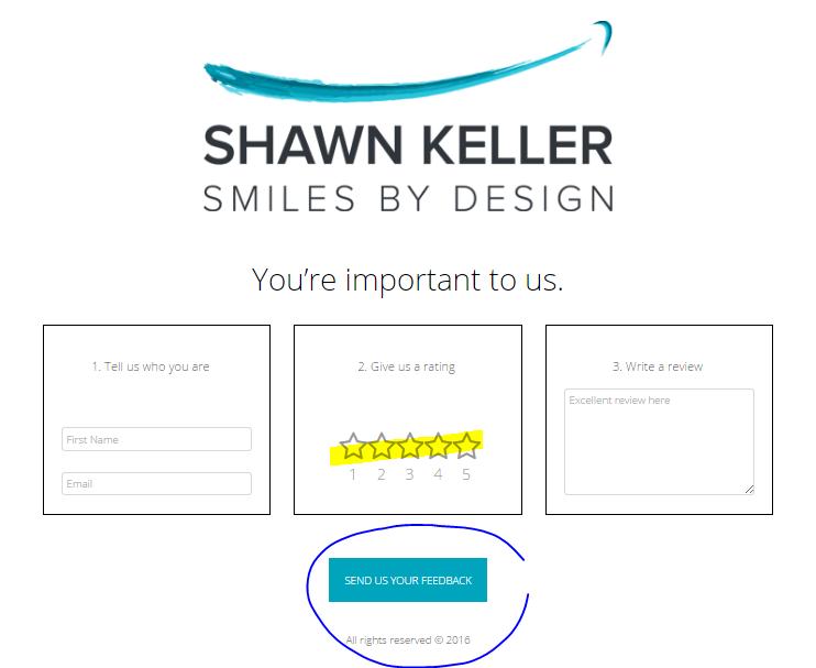 Screenshot of a review portal for Kirkland Dentist Dr. Shawn Keller