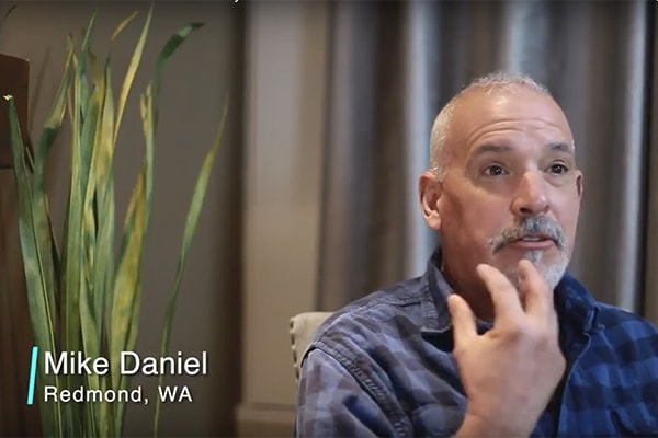 Video preview of Mike talking about Shawn Keller, a dentist in Redmond, WA. This image will lead to a video talking about his experience with the dentist.