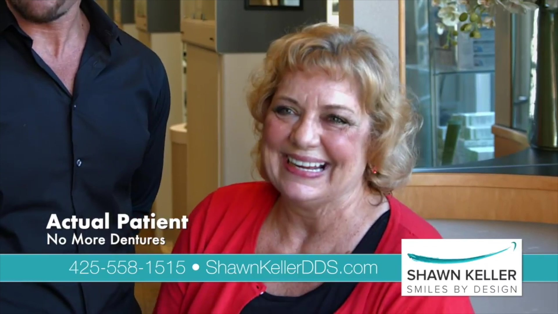 Preview of a video testimonial from Gail about cosmetic dentures in Redmond, WA at Smiles By Design