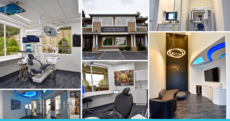 A collage of our new dental office in Kirkland, WA